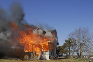 burning house after explosion