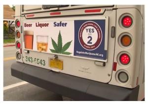 marijuana ad on bus