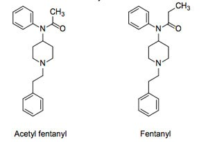 diagram of two forms of fentanyl