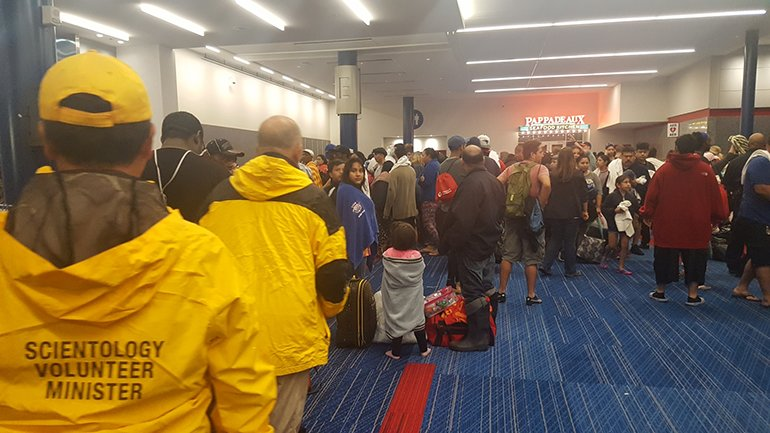The team of Volunteer Ministers arrived at the convention center that is serving as a shelter for those displaced by Hurricane Harvey and worked through their first night distributing supplies and providing any help needed.