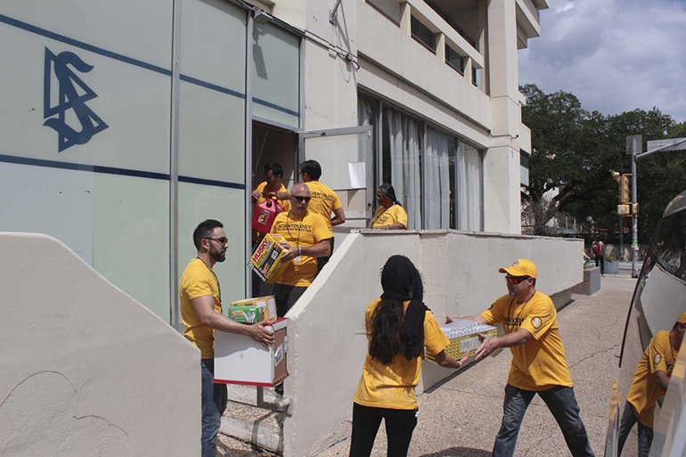 Los Angeles Volunteer Ministers flew in to Austin, Texas, and arrived at Volunteer Ministers Hurricane Harvey headquarters at the Church of Scientology Austin