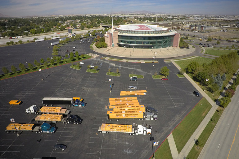 The convoy launched from the Maverick Center in Salt Lake City and headed for Texas.