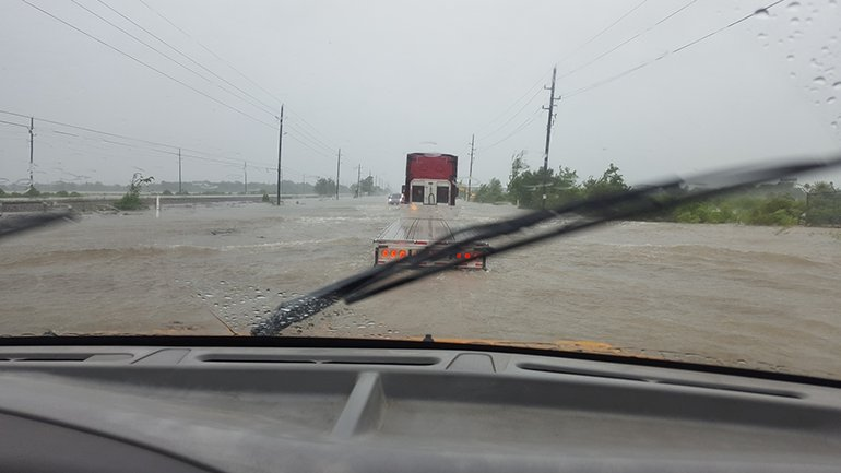 Traveling to Houston was challenging with flooded highways