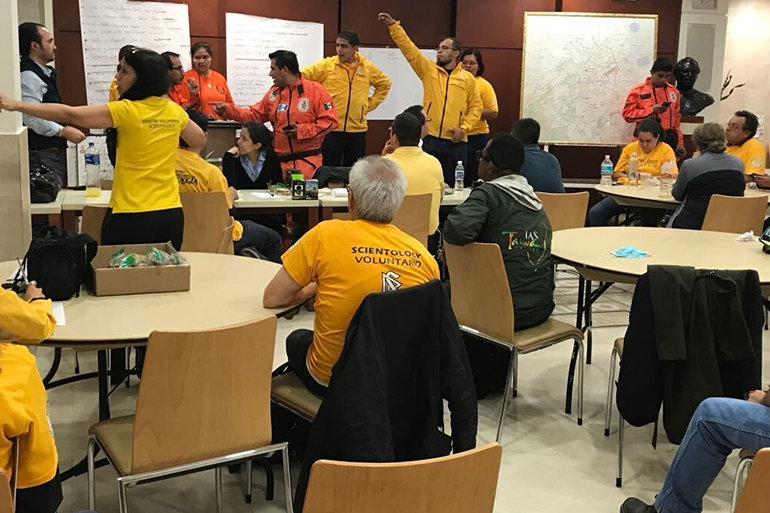 At the Church of Scientology Mexico City Scientology Volunteer Ministers Latin America Coordinator assigns Volunteer Ministers and Los Topos to disaster sites.