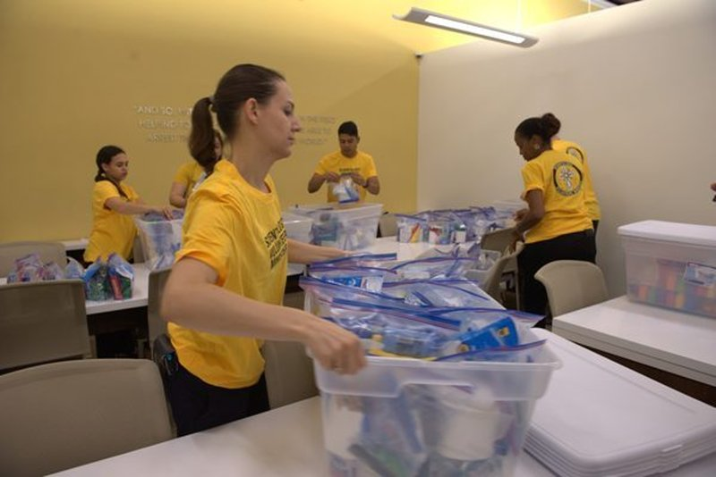 Scientology Volunteer Ministers Center in Clearwater, Florida, put together hundreds of sets of hygiene supplies and sent them to Houston