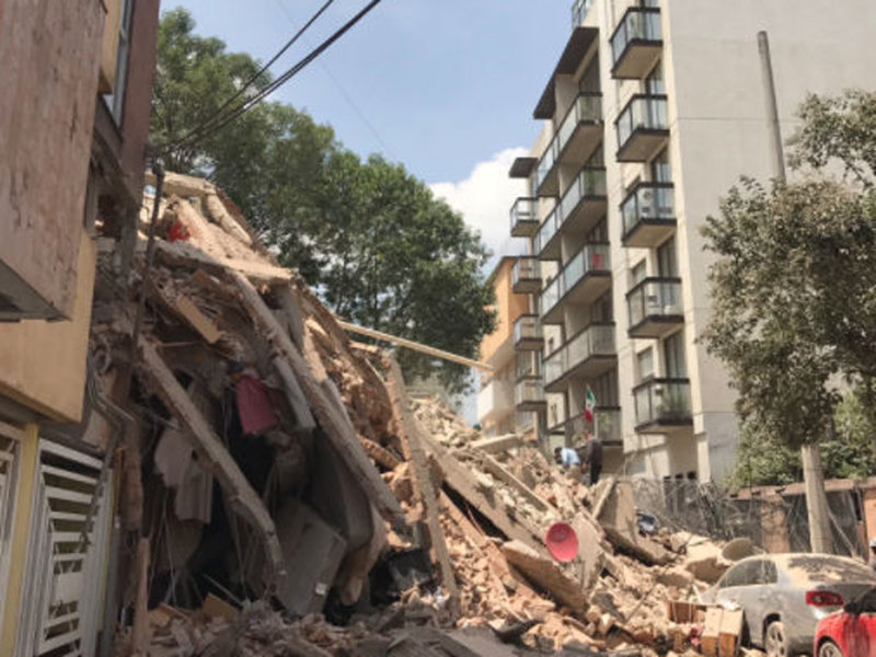 Buildings collapsed throughout Mexico City (courtesy of Twitter)