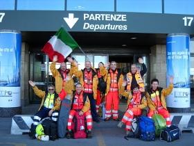 Een Italiaans team Pastoraal Werkers dat op weg gaat naar Haïti