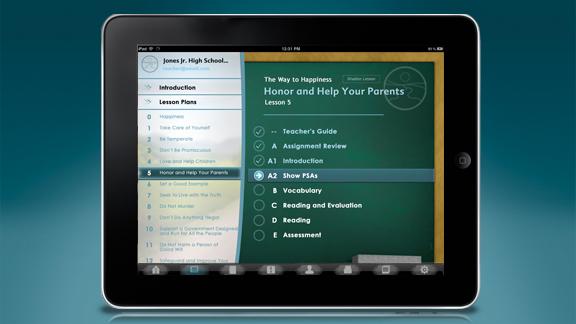 מורים יכולים להדריך את התלמידים באמצעות תכנית הלימודים הנמצאת על הלוח, בעוד שהתלמידים יכולים למלא תשובות למטלות ולכתוב חיבורים.
