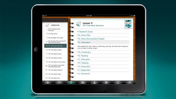 On y trouve aussi une section du manuel pédagogique, qui comporte un guide complet pour éducateurs/enseignants et le plan de chaque leçon à la disposition des enseignants; il fournit des outils pour la préparation des leçons et pour donner le programme, étape par étape, directement dans la classe, à l'aide de l'iPad.