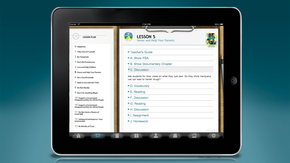 また、「教師のガイド」のセクションには、指導者のための完全ガイドと各レッスンのためのレッスン・プランが含まれており、指先ひとつで授業の準備ができます。また、iPadを教室に持ち込んでカリキュラムの各ステップを提供できるようになっています。