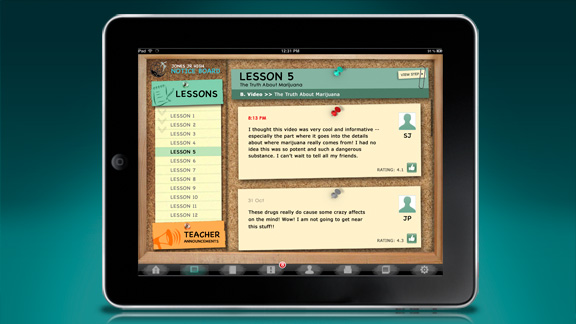 Avsnittet med oppslagstavlen gir lærerne mulighet for å sette eksempler på elev-besvarelser opp på tavlen så hele klassen kan se dem, og slå meddelelser opp.
