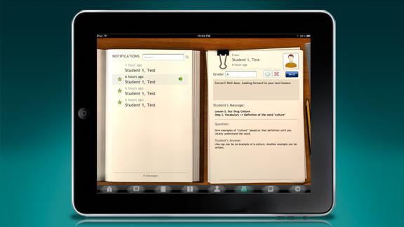 <ul>         <li>Também é incluído um sistema de classificação dos estudantes, proporcionando a possibilidade de classificar cada passo e escrever notas para cada um.</li>         <li>Um sistema de notificação e mensagem permite aos professores enviar e receber mensagens personalizadas desde e para os estudantes individuais.</li>     </ul>