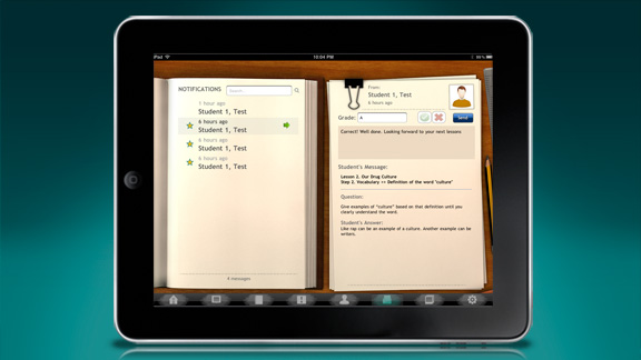 <ul>         <li>內含學生的評分系統,可以為每個步驟評分並一一寫下評語。</li>         <li>老師可以用通知信和簡訊系統收發每位學生的私人訊息。</li>     </ul>