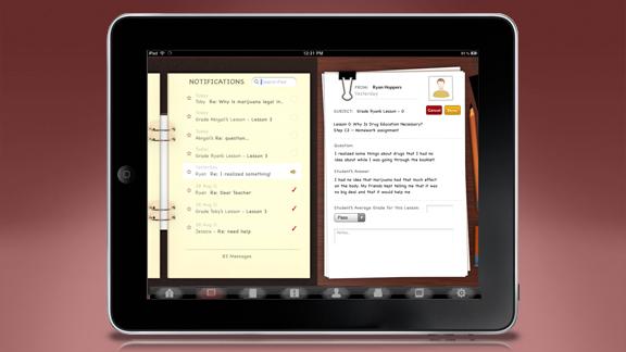 <ul>         <li>內含學生的評分系統,可以為每個步驟評分並一一寫下評語。</li>         <li>教師可以用通知信和簡訊系統收發每位學生的私人訊息。</li>     </ul>