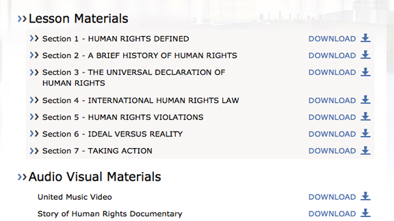 Todos os vídeos educacionais, folhetos e materiais de Unidos para os Direitos Humanos estão disponíveis para download desde a aplicação, assim como <nobr>on-line</nobr> com as lições em si, prontos para serem vistos imediatamente.