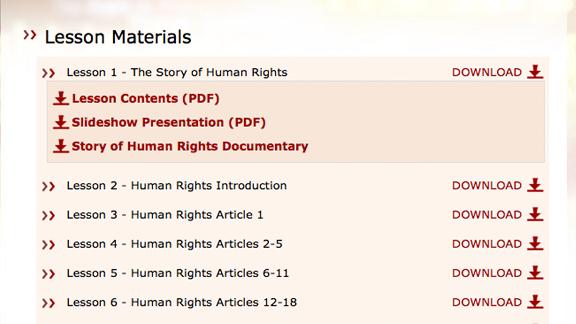 Todos os vídeos educacionais, folhetos e materiais de Youth for Human Rights estão disponíveis para download a partir da aplicação, assim como <nobr>on-line</nobr> com as lições em si, prontos para serem vistos imediatamente: