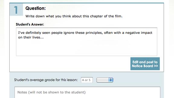 內含學生的評分系統,可以為每個步驟評分並一一寫下評語。