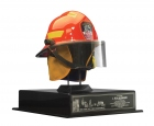 "Honorary New York Firefighter's Helmet — NY City Fire Department Bestowed upon L. Ron Hubbard by city firefighters following the success of the New York Rescue Workers Detoxification Project, and inscribed: ""To our brother, L. Ron Hubbard, from your brothers at the New York City Fire Department, we honor you with this helmet, a symbol of our motto, 'to protect life and property' which the legacy of your technology embodies,2 August 2003."""