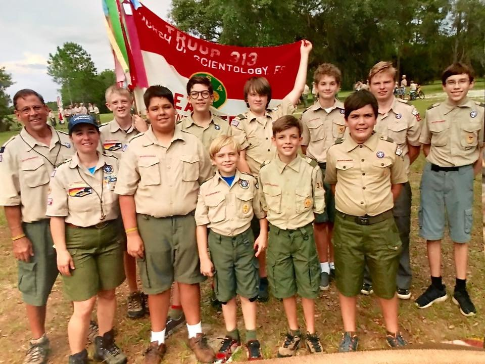 Boy Scout Troop 313, chartered to the Church of Scientology FSO, after their week-long summer camp, where they earned nearly 40 merit badges between them.
