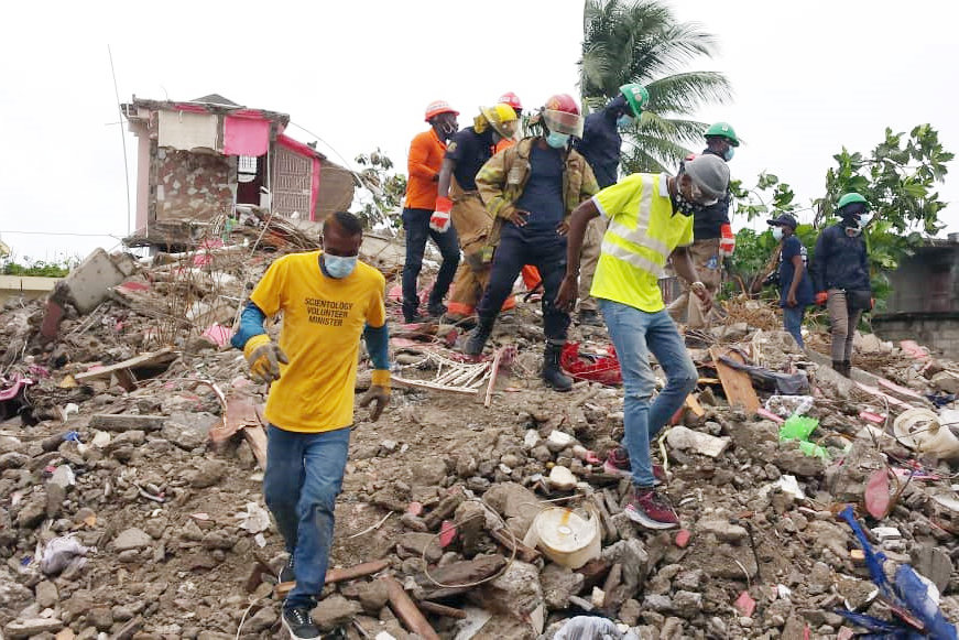 In the city of Les Cayes, near the epicenter of the disaster, VMs work alongside first responders to search for survivors in the rubble.