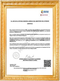 Scientology Recognition in Colombia