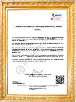 Reconocimiento de Scientology en Colombia