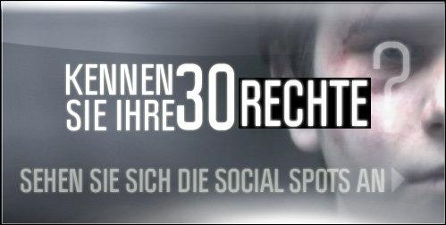 KENNEN SIE IHRE 30 RECHTE?  SEHEN SIE SICH DIE SOCIAL SPOTS AN