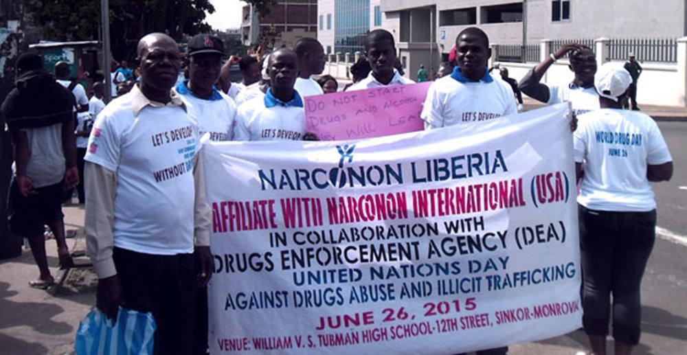 Narconon Liberia UN day group with banner