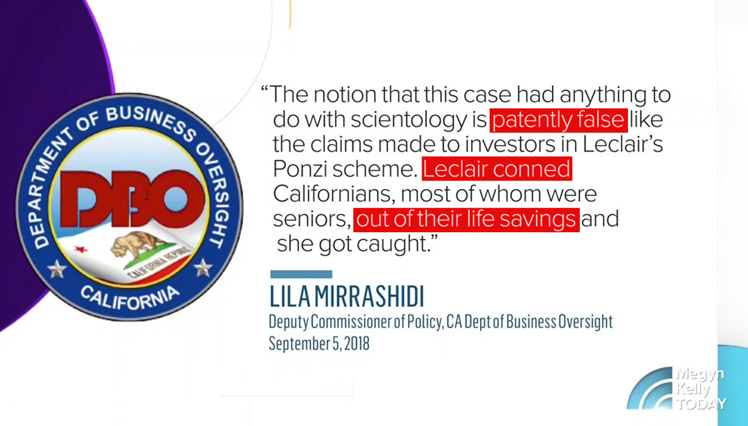Department of Business Oversight Statement on Michelle LeClair