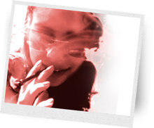 Woman smoking a joint.