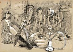 historical drawing of women smoking hashish