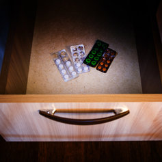 Prescription drugs in a drawer