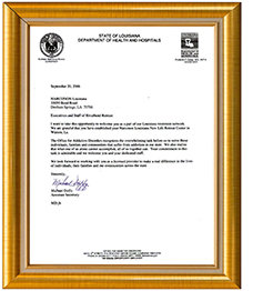 Louisiana Department of Health and Hospitals letter.