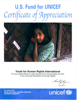 UNICEF Certificate of Appreciation