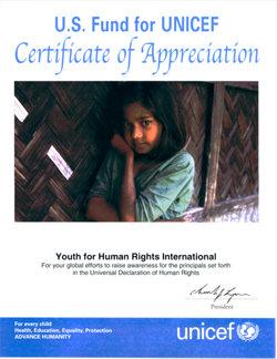 Certificat d'appréciation de l'UNICEF