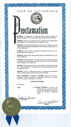 Proklamation fra borgmesteren i Clearwater