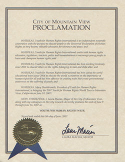 City of Mountain View Proclamation