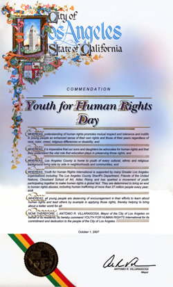 Youth for Human Rights-Tag der Stadt Los Angeles