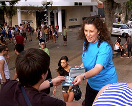 Scientologist Ayelet distributing Truth About Drugs booklets