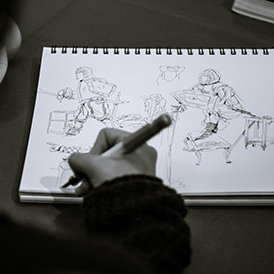 Putting the lessons to the test at one of the illustrators workshops.