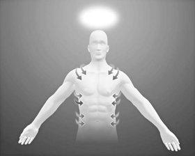 כאשר האדם שוכב עם פניו כלפי מעלה, בצע את תנועותיך רק עד למרחק שמראים החיצים.