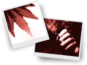 Picture of marijuana leaf and man smoking a joint.
