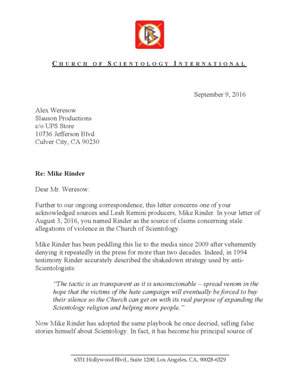 Letter from CSI to Weresow of 9 September 2016 re Mike Rinder