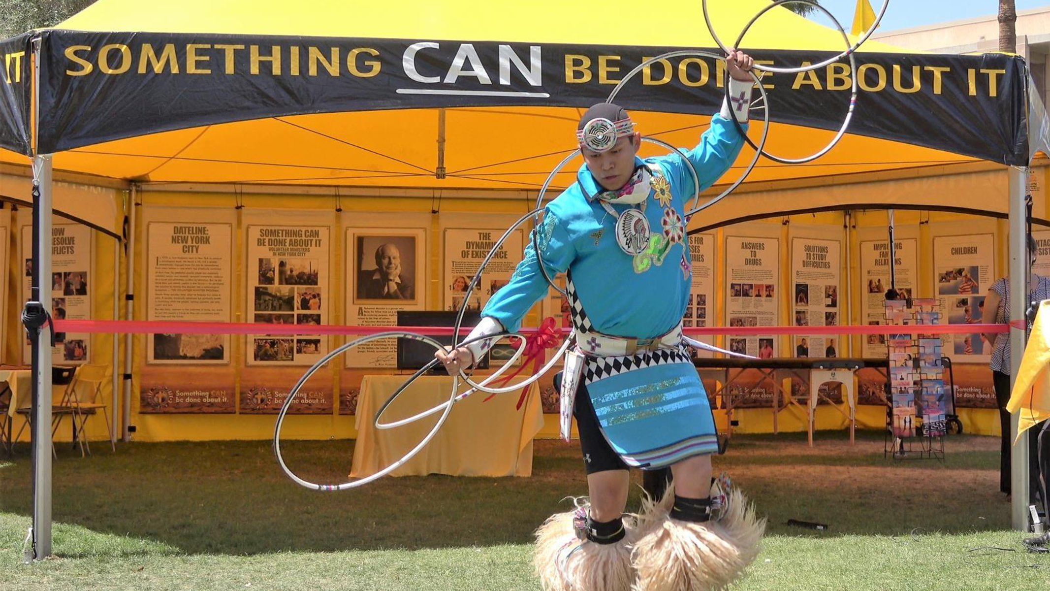Hoop dance performed at the Volunteer Ministers Cavalcade by a member of the Yellowhouse Dance Group