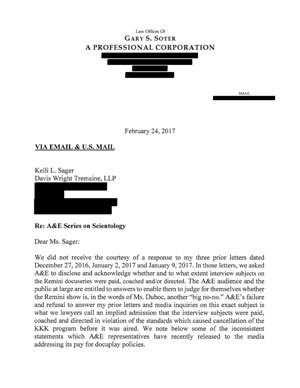Letter from Gary Soter to Kelly Sager of 24 February 2017 re A&E Series on Scientology
