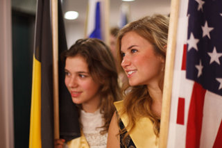 Youth Delegates from Belgium (left) and the United States, at the start of the procession of flags at the Human Rights Summit.