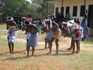Dancing celebrates the  grand opening of a school in Twewaa, Ghana, funded by YHRI project, UNITED for Africa.