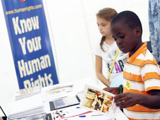 The Youth for Human Rights booth was a popular attraction for festival goers.