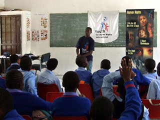 Students in South Africa participate in a Youth for Human Rights workshop on human rights