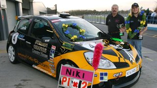 Niki Lanik with his Y4HR Racing Car and medals